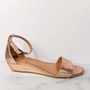 J.Crew Crackle demi wedge sandal rose gold strappy